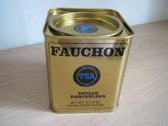 Fauchon Indian Darjeeling tea tin, square w/ black lettering on gold, in French and English, c. 1990s?-2000s?, France