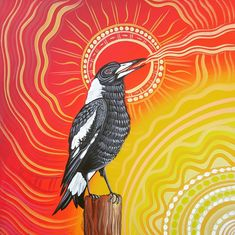 """Morning Song"" Australian Magpie singing to welcome the Sun ~ Aboriginal Art Aboriginal Art Animals, Aboriginal Dot Art, Aboriginal Painting, Aboriginal Artists, Encaustic Painting, Indigenous Australian Art, Indigenous Art, Aboriginal Tattoo, Indian Folk Art"