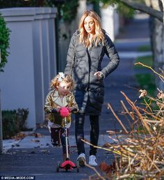 Rebecca Judd takes her children Oscar and Billie for a scooter ride Rebecca Judd, Micro Scooter, Celebs, Celebrities, Matilda, Scooters, Melbourne, Winter Jackets, Daughter