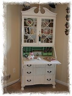 Painted secretary. This would be perfect Bren the 2 windows in entryway