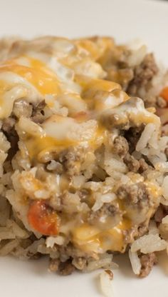 Cheesy Ground Beef Casserole.  Quick and easy to prep. 1.5 to bake. It was really good. Will use again