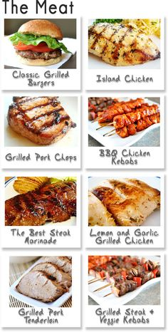BBQ recipes: 8 for the grill, 4 drinks, 16 sides, and 14 sweets Grilling Recipes, Meat Recipes, Cooking Recipes, Grilling Ideas, Bbq Ideas, Food Ideas, Cooking Tips, I Love Food, Good Food