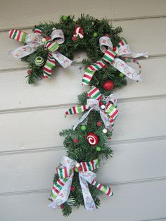 Christmas Wreath, Candy Cane wreath, Outdoor Christmas Decoration, Door Hanging…