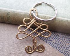 New! Celtic Tree Brass Key Chain  Celtic Knot Tree by nicholasandfelice