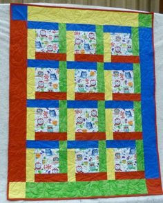 Quilt for Baby or Child, Primary Colors, Cute Owls, 37 x Boy or Girl Quilt, Great Gift Baby Boy Quilts, Girls Quilts, Lap Quilts, Fabric Panel Quilts, Scrappy Quilts, Patchwork Quilt Patterns, Quilt Block Patterns, Quilt Blocks, Kaleidoscope Quilt