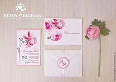 """Купить Приглашение """"Пион"""" - бледно-розовый, пион, приглашение, нежность, нежное приглашение, стильная свадьба"""