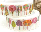Colorful Uniform Trees or Leaves Washi Tape by BellasBeadHabit