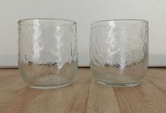 Vintage Set 2 Anchor Hocking Clear Glass Sherwood 10 oz Rocks Juice Glasses
