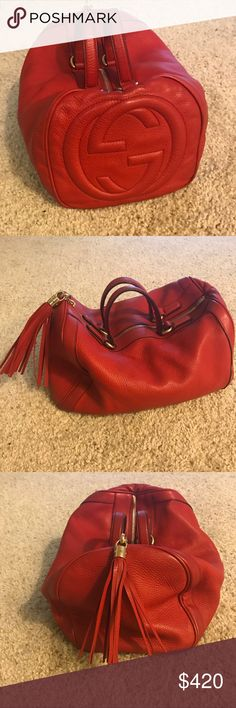 Authentic Gucci Soho leather purse Red leather soho Gucci bag is up for grabs! It was one of my favs so it was worn a bit but it is still in excellent condition. Yes it is authentic! Open to reasonable offers! Gucci Bags Shoulder Bags