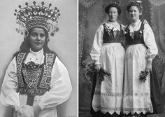 Left: Bunad with marriage headdress.  Right: Norwegian immigrants (in the U.S) wearing their bunads