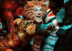 """Making Broadway more accessible in a scene from the musical """"Cats,"""" an actor dressed as a cat reaches his arm out to the audience"""