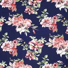 0491cabce0c Dark Blush Floral on Navy Blue Cotton Jersey Spandex Blend Knit Fabric -  Hand painted look
