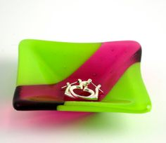 lime green and hot pink trinket dish