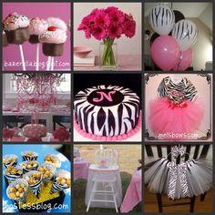 Pink zebra decorations