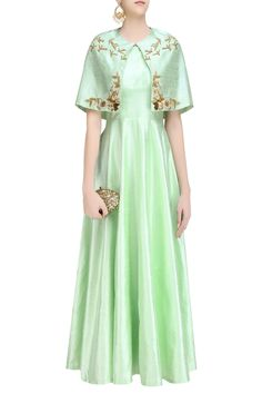 Description This set features a green plain raw silk flared gown paired with pink front open short cape with pistachio gold zardozi birds and floral embroidery on the neckline and edges. FIT: Cut for relaxed fit. COMPOSITION: Raw silk.