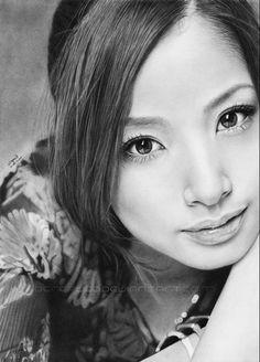 """Aya Ueto 2nd"" by Thea Nu, beautiful female portrait realistic pencil drawing. thea-nu.deviantart.com"