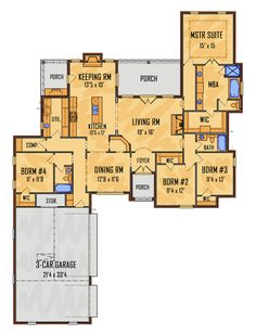 Country European Southern Traditional House Plan 41554 Level One