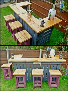 If you'd like an outdoor bar without a big price tag, this one made from recycled pallets could be for you. Learn how to turn pallets into an outdoor bar by viewing the full gallery on our site at theownerbuilderne... It would also work well as a side table for a big outdoor event – one for salads, another for desserts…