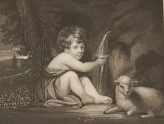 The Infant Saint, antique print, Victorian, an engraving from circa 1880 after the original painting by Sir Joshua Reynolds. The print is part of a set of engraving that where commissioned to show works that had been exhibited at the National Gallery, Royal Academy and where printed by the London Print and Publishing Company around 1880. Antique Maps, Antique Prints, Joshua Reynolds, Gallery Website, The Visitors, Is 11, Natural History, Things That Bounce, Original Paintings