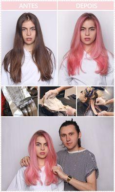 cabelo rosa pastel                                                       …