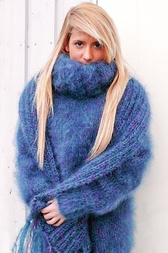 Mohair turtleneck with a matching scarf