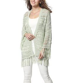 Look what I found on #zulily! Green Crochet Fringe Open Cardigan #zulilyfinds