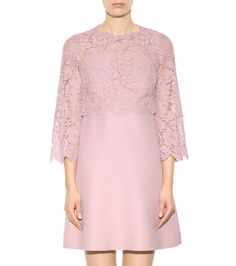 mytheresa.com - Lace-Trimmed Wool And Silk Dress ► Valentino » mytheresa.com - Luxury Fashion for Women / Designer clothing, shoes, bags