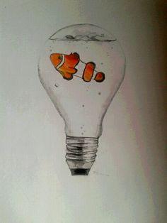Obraz: ryba(Nemo) v žárovce