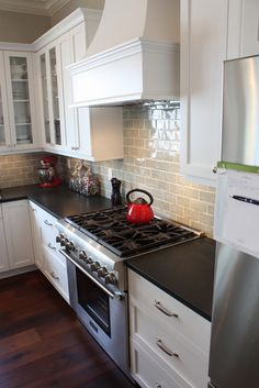 Kitchen Backsplash Grey stone backsplash with grey countertop | kicthen | pinterest