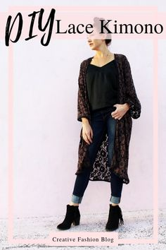 With this robe pattern, you can make a lace kimono in 1 hours. I love the look of a sheer, lace robe and this simple tutorial. Kimono Fashion, Diy Fashion, Fashion Outfits, Fashion Sewing, Dress With Cardigan, Kimono Cardigan, Kimono Tutorial, Kimono Sewing Pattern, Lace Kimono