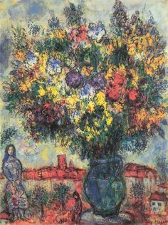 marc chagall paintings | Dans le Jardin | Chagall | #Jewish #art #marc-chagall #marcchagall #MarcChagall #chagall