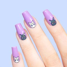 Luna and Artemis from Sailor Moon Nails by nagelfuchs Dream Nails, Love Nails, How To Do Nails, Pretty Nails, Uñas Sailor Moon, Sailor Moon Nails, Sailor Moon Makeup, Aycrlic Nails, Hair And Nails