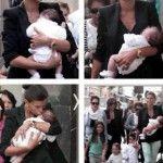 Claudia Galanti, tenera e affascinante madre per le vie di Milano