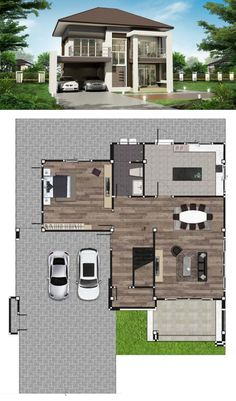 Two Storey Modern House with 280 sq. Useful Space - House And Decors Two Story House Design, Modern Small House Design, Modern House Plans, Home Building Design, Home Design Plans, Building A House, Two Storey House Plans, Porch And Terrace, Brown Roofs