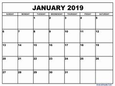Calendar For The Month Of January 2019 34 Best January 2019 Printable Calendar images