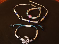 The white hemp collection from www.trinitybydesign.etsy.com  Adjustable bracelet, anklet and toggle bracelet all handmade for you!