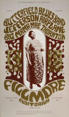Original Vintage Bill Graham BG # Poster by Wes Wilson for Butterfield Blues Band, Jefferson Airplane, Big Mama Mae Thornton at Fillmore Auditorium Psychedelic Rock, Psychedelic Posters, Hippie Posters, Rock Posters, Band Posters, Film Posters, Vintage Concert Posters, Vintage Posters, Vintage Movies