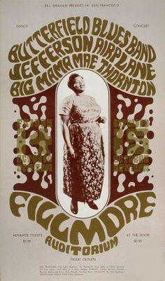 Butterfield Blues Band, Jefferson Airplane, Big Mama Mae Thornton  10/14-16/1966  Artist: Wes Wilson