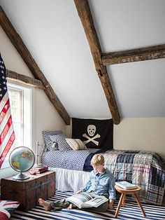 Mix of patterns in this boy's room.
