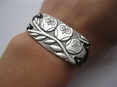 Bracelet-antique silver three owl on the branch bracelet,owl bracelet