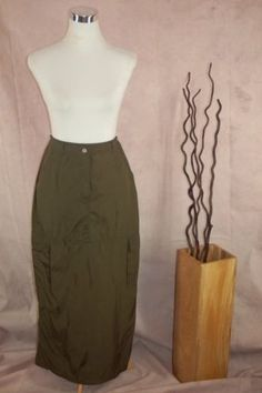 Womens Oilily 71710 Easy Care Long Cargo Skirt 38 Olive Green Cotton Blend