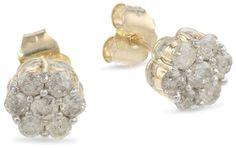 10k Yellow Gold Diamond Stud Earrings (1 cttw, I-J Color, I2-I3 Clarity)