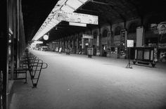 Empty Gare St. Lazare waiting room, during Paris transport strike - 1953