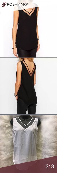White Chiffon V-Neck Top COLOR - WHITE Soft thin chiffon material. Loose fit. Mesh lining at top. Tops Tank Tops