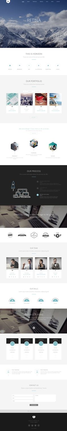 The 'Horizon One' one page HTML template starts with a big beautiful fullscreen header image and continues with all the sections needed for a digital agency Web Design, Homepage Design, Website Layout, Web Layout, Layout Design, Website Design Inspiration, Branding, Webdesign Layouts, Modern Website