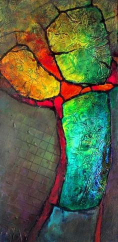 Glowing Stones mixed media geologic abstract Carol Nelson Fine Art, painting by artist Carol Nelson