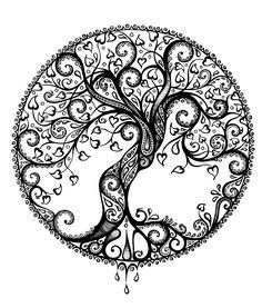 Beautiful tree of life neha body art tattoos, zentangle draw Mandalas Painting, Mandalas Drawing, Zentangle Drawings, Zentangle Patterns, Tree Drawings, Zentangles, Colouring Pages, Coloring Books, Image Mandala