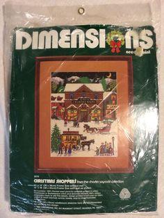 NWT NIP Dimensions Needlepoint Kit 9019 Christmas Shoppers Charles Wysocki 1982 #Dimensions #Christmas #needlepoint