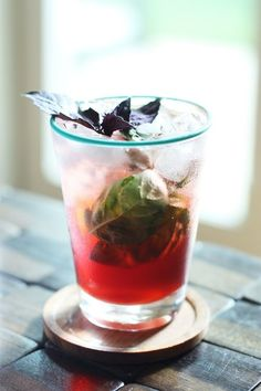 2 oz Campari 1 tablespoon brown sugar 2 oz lime juice 1/4 cup basil leaves, loosely packed Basil leaves for garnish