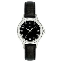 Timex Women's T2M576 Diamond Accented Black Leather Strap Watch Timex. $125.00. Quartz movement. Case diameter measures 28 mm. Strong mineral crystal protects dial from scratches and scrapes. Stainless-steel case; Black dial. Water-resistant to 99 feet (30 M)